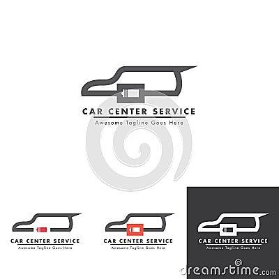 Car Battery logo design for electricity service Vector Illustration