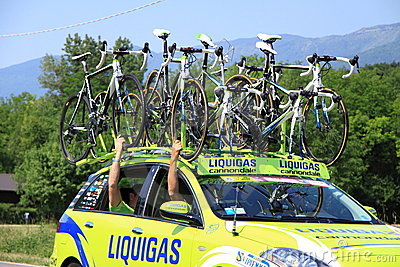 Car with bikes on the roof Editorial Photo