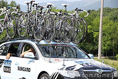 Car with bikes on the roof Editorial Stock Image