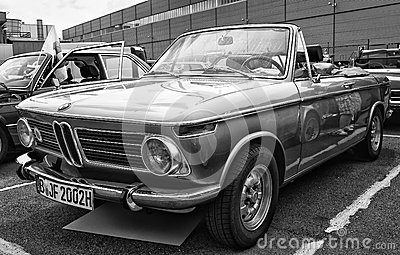 Car BMW 1600 Cabriolet (black and white) Editorial Stock Photo
