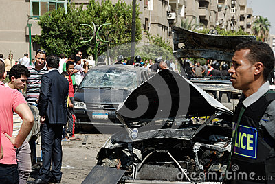 Car Bombing Targeting Egypt s Interior Minister Editorial Image