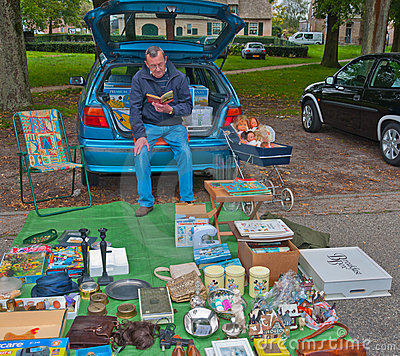 Car boot sale in a small Dutch village Editorial Photo
