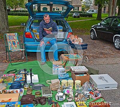 Car boot sale in a small Dutch village Editorial Photo
