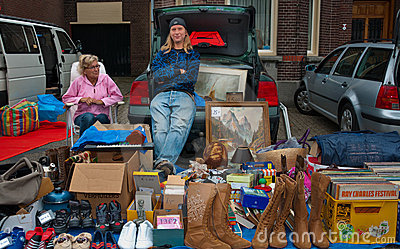 Car boot sale in a small Dutch village Editorial Photography