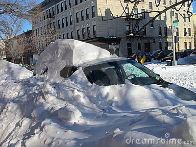 Car buried in snow blizzard  Editorial Image