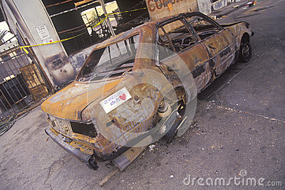 Car burned during 1992 riots Editorial Image