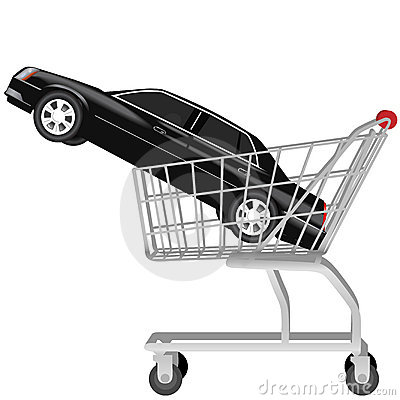 Car buying black auto shopping cart