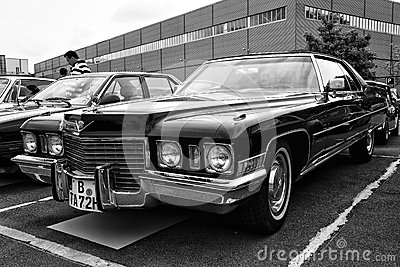 Car Cadillac Coupe de Ville (black and white) Editorial Photo