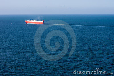 Car Carrier and Ocean Aerial View