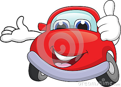Car cartoon with thumb up