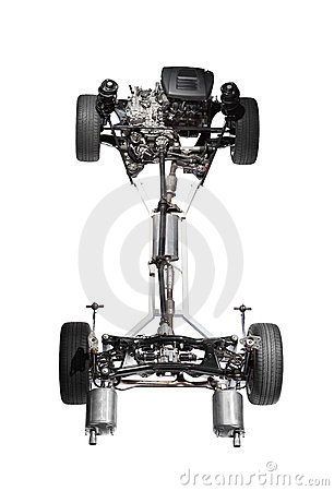 Car chassis with engine.