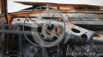 Car cockpit after fire