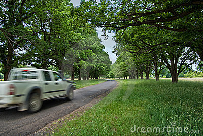 Car on country road
