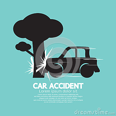 Car Crash Big Tree. Vector Illustration