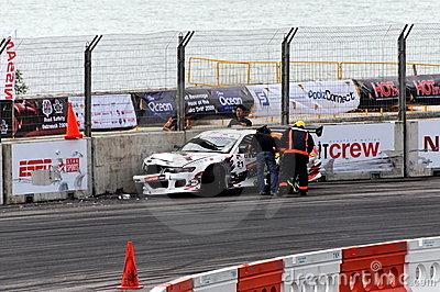 Car crash during Formula Drift Singapore 2009 Editorial Photography