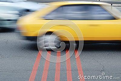Car cross the finish line