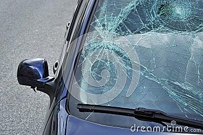Car damage broken glass