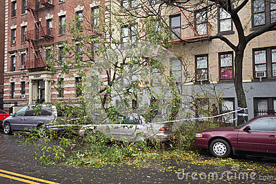 Car damaged by Hurricane Sandy Editorial Image