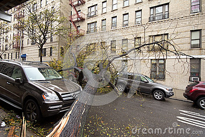 Car damaged by Hurricane Sandy Editorial Photography