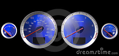 Car dashboard Blue dials