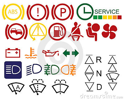 Car dashboard signs