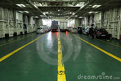 Car deck of a ferryboat Editorial Photo