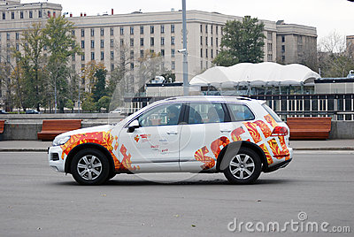 A car decorated by Olympic symbols Editorial Image