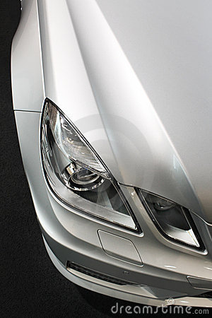 Car detail, lights, silver metallic