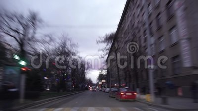 Car driving on the city at night and night. stock footage