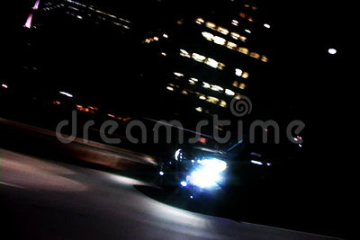 Car driving through Downtown LA stock footage
