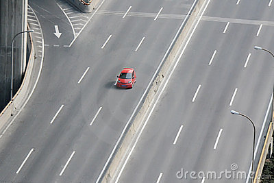 A car driving on highway