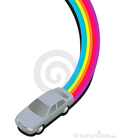 Car Driving on a Rainbow Trail