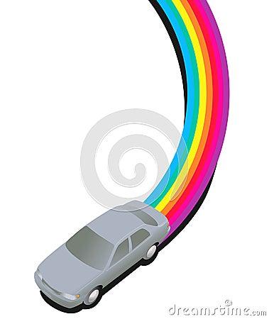 Car Driving on a Rainbow Trail