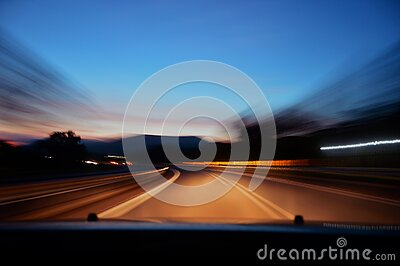 Car Driving On Road At Sunset Free Public Domain Cc0 Image