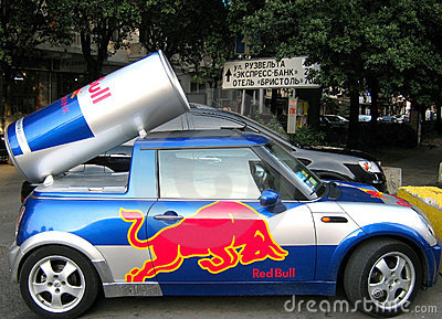 The car with an emblem red bull Editorial Photo