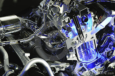 Car engine with blue beam