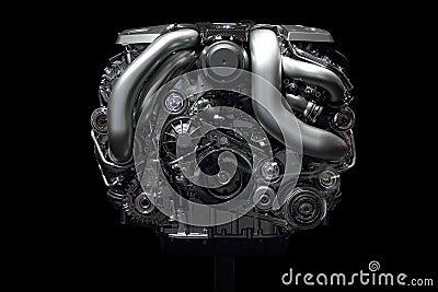 Car engine chrome front