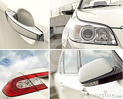 Car exterior details collage
