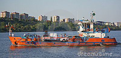 Car ferry on the Danube river (Romania) Editorial Stock Photo