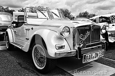 Car Fiat Siata Spring 850 Spider (black and white) Editorial Stock Photo