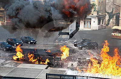 Car And Fire Editorial Stock Image