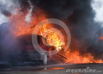 Car on fire
