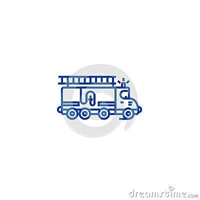 Car fire engine line icon concept. Car fire engine flat vector symbol, sign, outline illustration. Vector Illustration
