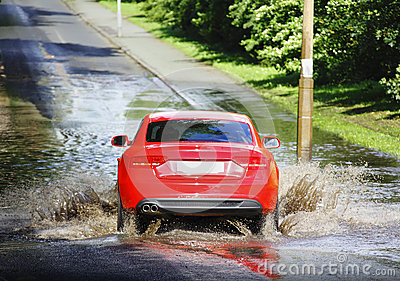Car in flood water