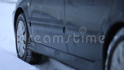 Car got stuck in the snow stock footage