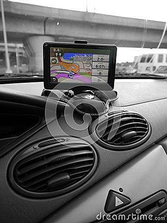 Car: GPS system on dash