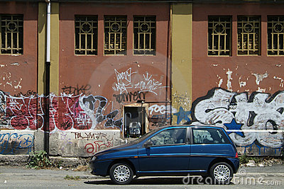 Car and graffiti