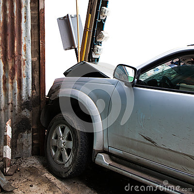 Free Car Hit The Pole Near Zinc. Royalty Free Stock Photography - 85086527