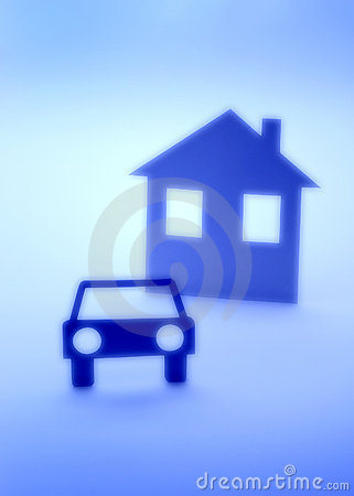 Car And House Insurance Abstract Silhouette