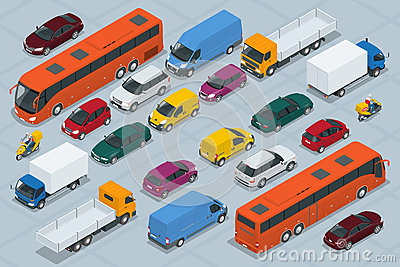 Car icons. Flat 3d isometric high quality city transport car icon set. Car, van, cargo truck, off-road, bus, scooter Vector Illustration